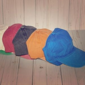 100% cotton acid washed backless curly caps